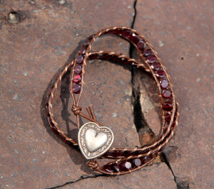 Faceted Garnet Wrap Bracelet