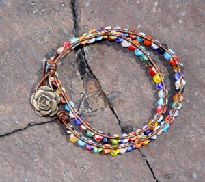 Millefiori Glass Wrap Bracelet