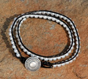 "Glass ""Pearls"" Wrap Bracelet"