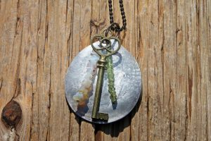 Spoon Necklace with Opal and Peridot