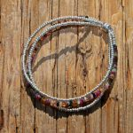 Silver and Tourmaline Triple Strand Bracelet
