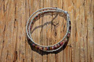 Silver and Tourmaline Triple Strand Bracelet