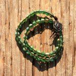 Green Millefiori Glass Wrap Bracelet