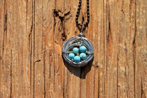 Bird's Nest Necklace with Turquoise Magnasite