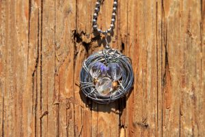 Bird's Nest Necklace with Clear Czech Glass
