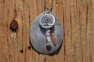Silver Spoon Necklace with Opals and Sunstones
