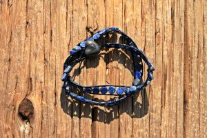 Denim Lapis Wrap Bracelet