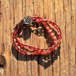 Red Millefiori Glass Wrap Bracelet