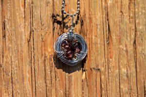 Bird's Nest Necklace with Brown Czech Glass